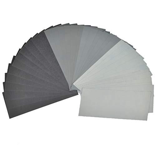 TIMESETL 36Stück Schleifpapier Sandpapier Set, Körnung 1500 2000 2500 3000 5000 7000, 9x3,6 Zoll Schleifpapier Sortiment Nass und Trocken zum Polieren und feinen Schleifen für Metall Glas Stein Jade