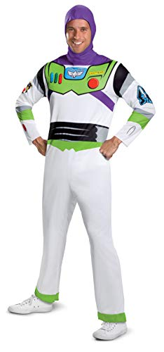Disney mens Disguise Disney Pixar Toy Story and Beyond Buzz Lightyear Classic adult sized costumes, White/Green/Red/Purple, XL 42-46 US