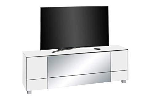 MAJA Möbel Soundconcept Lowboard, Glas, Weißglas Matt - Infrarotspiegel Grau, 180,30 x 42,00 x 60,00 cm