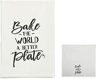 Hanna Roberts Kitchen Dish & Tea Towel, Bake The World a Better Plate