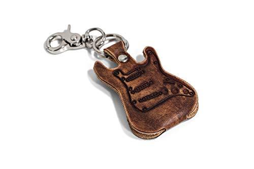Plektrenetui in Form einer E-Gitarre aus echtem Leder mit Schlüsselanhänger und Karabinerhaken, hergestellt in Italien, Qualität Endeskop (braun)