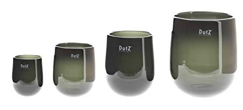 Dutz Barrel Smoke | Deko Glas Vase | Smoke| mundgeblasen| H 18 D 14 cm | Windlicht (H 18 cm D 14 cm)