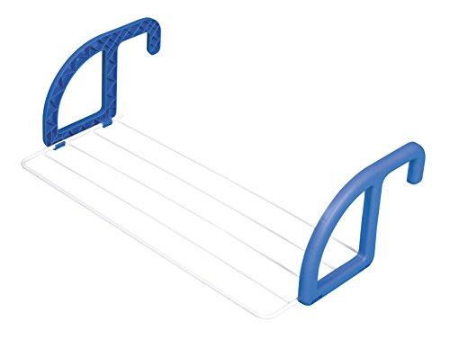 herby 3070 - Stendino da Balcone/termosifone, in Acciaio termolaccato e plastica, Dimensioni: 56 x 3 x 23 cm, Colore: Bianco/Blu