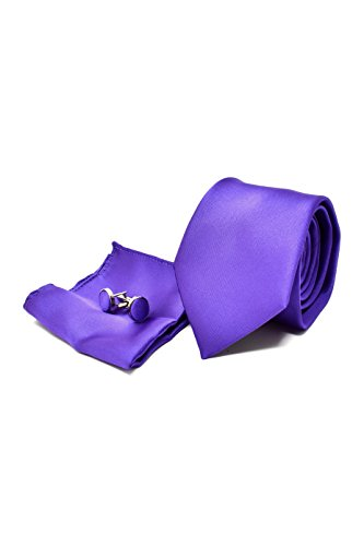 Coffret Ensemble Cravate Homme, Mouchoir de Poche, Boutons de Manchette Violet - 100% en Soie - Classique, Elégant et Moderne - (Idéal pour un cadeau,