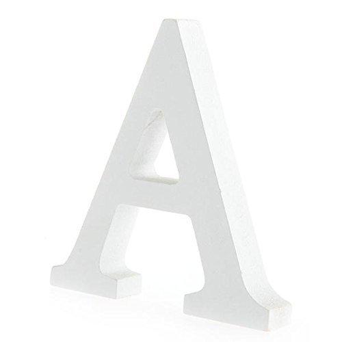 BIGBOBA Holz Buchstaben A-Z Retro DIY Dekoration für Home Coffee Shop Kleidung Store Geburtstag Party Hochzeit Weiß, Höhe 8 cm, A