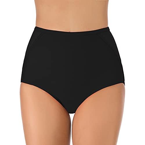 Joweechy Bikinihosen Damen schwarz Retro-Stil Bademode Bikinihose mit Hohem Bund Badeshorts Bikinislip Beachwear Strandbikini Unterhosen Sporthose(B2,L)