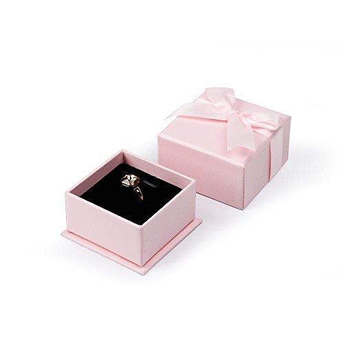 Oirlv Geschenkbox mit Schleife, für Ringe, Ohrringe, Anhänger, Halskette, kreatives Schmuckkästchen für Hochzeit, Heiratsantrag, Valentinstag (Rosa)