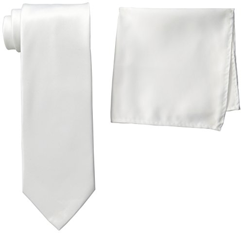 Stacy Adams Men's Tall-Plus-Size Satin Solid Tie Set Extra Long, White, One Size