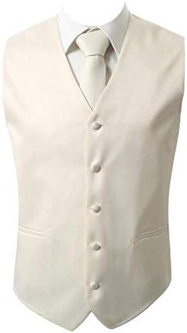 Brand Q 3pc Men s Dress Vest NeckTie Pocket Square Set for Suit or Tuxedo Ivory XL product image