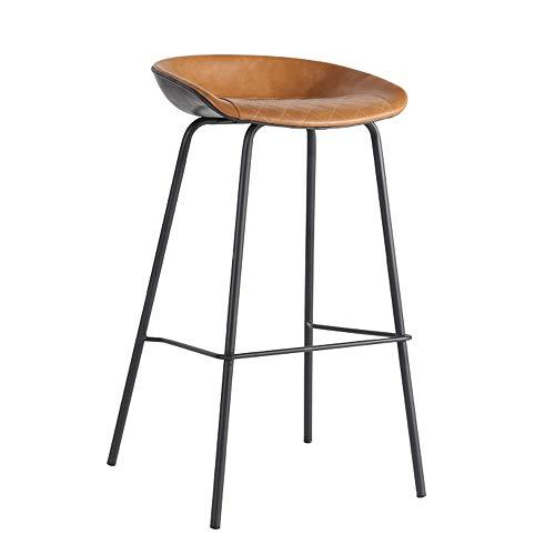 JH-Barhocker Eisen-Barhocker, schwarzer Hochhocker, 75 cm hoch, brauner PU-Ledersessel, handgefertigter Stuhl, geeignet für Bars, Lounges, Cafés, zu Hause