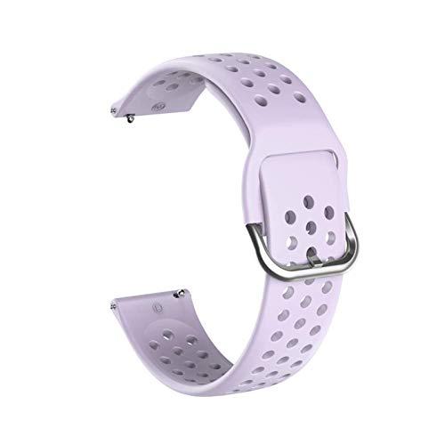LRJBFC Banda de Reloj de Silicona Suave de 20 mm para Huawei Honor Watch ES Strap Strap Pulsera Pulsera Pulsera para la Pulsera de Venu Garmin Nuevo (Band Color : Lavender, Band Width : 20mm)