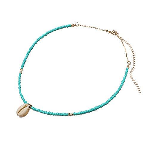 Fltaheroo Chic Cuentas Verdes Gargantilla Collares Concha Colgante Moda Oro Color Cadena Collar para Mujer JoyeríA Corto Gargantillas Collar