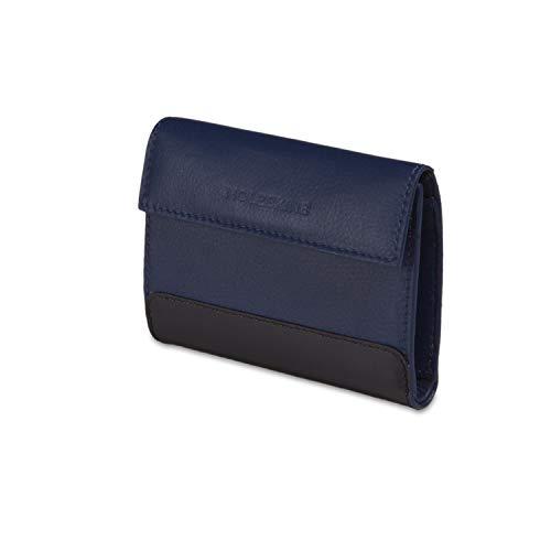 Moleskine - Cartera clásica de piel con bolsillo para monedas y 3 solapas para tarjetas de crédito, tamaño 11 x 3 x 8.5 cm, azul zafiro