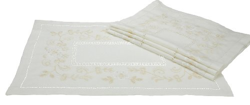 Xia Home Fashions Belle Garden Floral Embroidered Hemstitch Placemats, 14-Inch by 20-Inch, Set of 4
