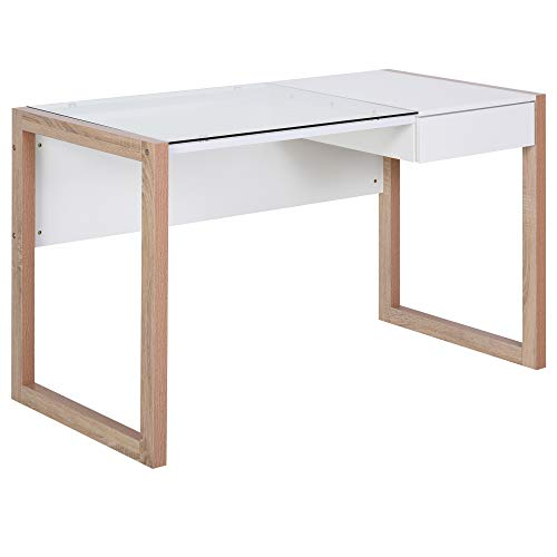 HOMCOM Mesa de Ordenador Mesa de Escritorio Diseño Moderno con Tablero de Vidrio Templado Cajón Combinación de Estilos para Oficina Estudio 120x60x75 cm Blanc