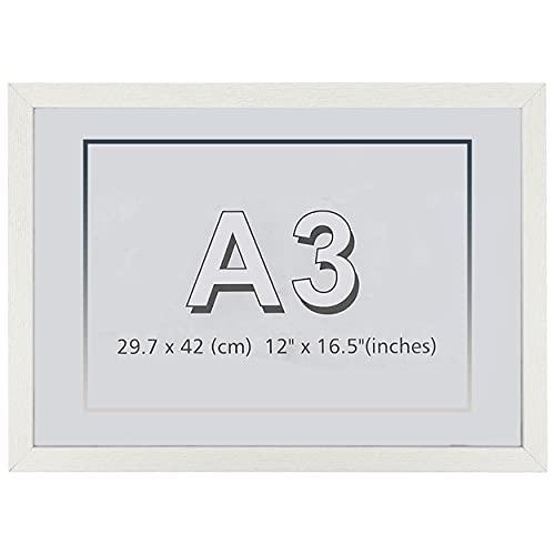 Marco de Fotos 29.7 x 42 cm A3 Blanco Hecho de Madera Panel de Metacrilato Marco de Fotos para Decoracion Especial para Títulos Universitarios