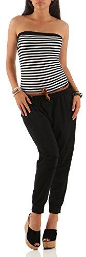 Malito Damen Einteiler gestreift   Overall mit Gürtel   Jumpsuit im Marine Look - Playsuit - Romper 9610 (schwarz)