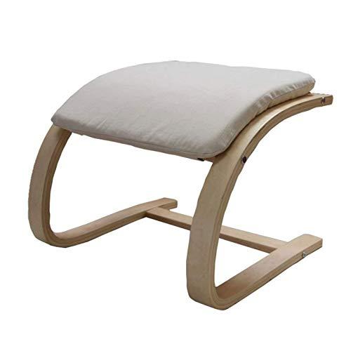 HTTIB Home Outdoor - Taburete de doble propósito para adultos de madera para taburetes otomanos, sofá, taburete, taburete simple de madera curvada, patas curvadas, taburete bajo (color: beige)