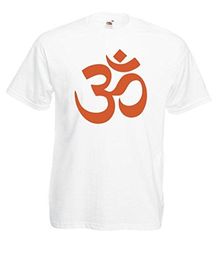 CHEIDEASTORE T-Shirt Maglietta Simbolo Om Yoga Uomo (Large, Bianco-Arancione)