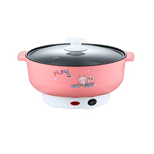 110V Electric Skillet Rice Cooker 4-In-1 Mini Heating Pan Non-Stick Electric Hot Pot with Lid for Cook Rice Fried Noodles Stew Soup Steamed Fish Boiled Fried Hot Dog Steak (3.6L without Steamer, Pink)
