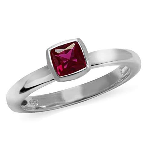 Silvershake Cushion Cut Created Ruby 925 Sterling Silver Stack Stackable Solitaire Ring Size 7.5