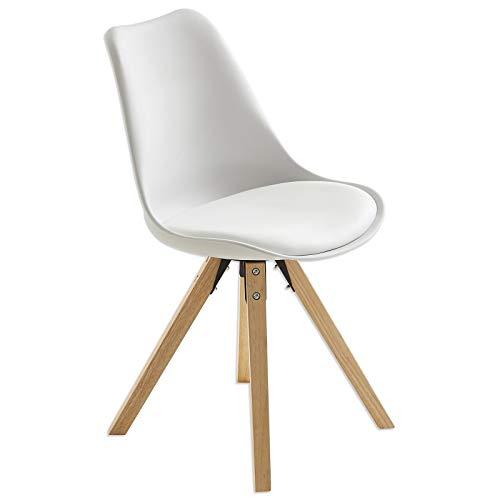 ROLLER Stuhl - weiß - Massivholzbeine