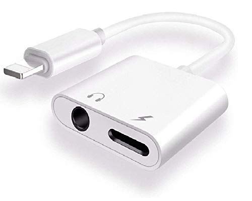 Lowfe 2 in1 Ports Adapter 3.5mm Aux; Headphone; Handfree Audio Jack with Charging Jack Connector for iPhone 11 iPhone X/XS/XS MAX/XR/ 8/ 8Plus/ 7/7 Plus, 6/6 Plus All iOS Device. (Music & Charging)