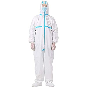 Disposable Protective Coverall Suit Long Front Zipper Elastic Waistband & Cuffs Isolation Suit