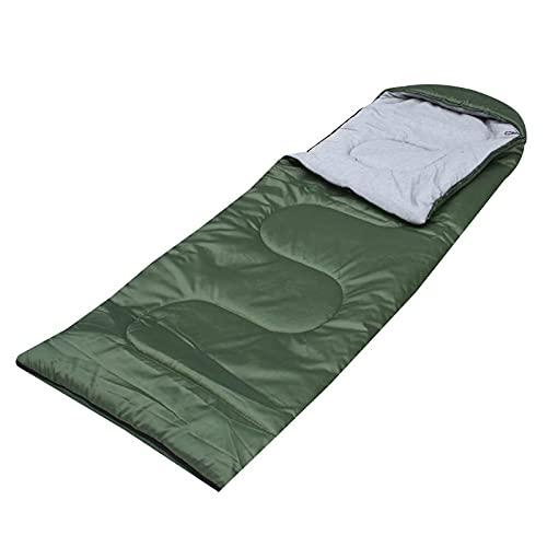 FACWAWF Saco De Dormir Verde Militar Primavera Y Otoño para Adultos Saco De Dormir Al Aire Libre Cálido para Acampar Individual 210x70cm(1200g)