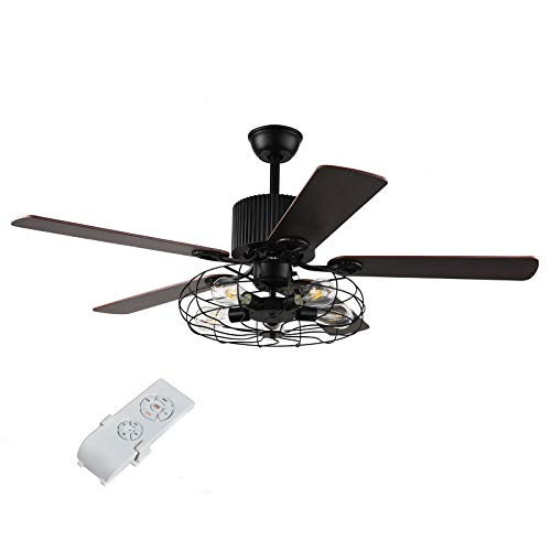 Ventilador de techo con luz y mando a distancia, color negro, 52 pulgadas, 5 aspas con mando a distancia, para salón o dormitorio