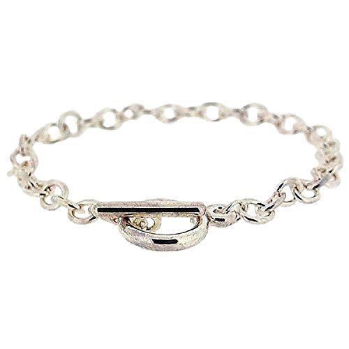La Olivia Collection Bracelet Mixte de 19cm en Métal Argenté avec Fermoir en T