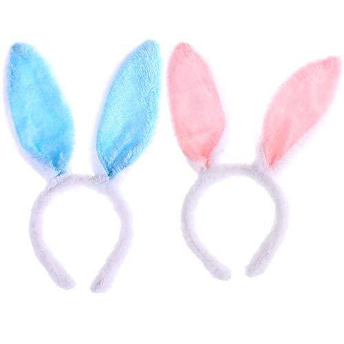 U/K Andeau de conejo, 2 diademas para orejas de conejo de Pascua, accesorios de peluquería en forma de conejo, felpa de conejo, utilizado para la decoración de disfraces de fiesta, etc.