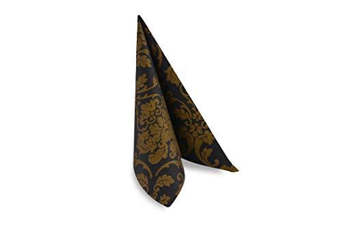 Hypafol Airlaid Motiv-Serviette Dauphine schwarz/gold | 100St. | unterschiedliche Farben und Motive | 40x40cm | passend zu Einrichtung & Dekoration | für Gastronomie & Zuhause | hochwertiges Material