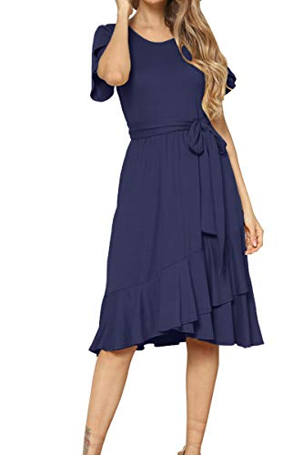 Women's Plain Casual Swing Midi Modest Belt Dress Deep Blue M