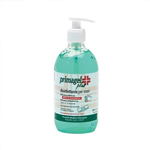 Primagel Plus - Gel de manos desinfectante sin enjuague - Tapón dosificador - Presión médica quirúrgica - 500 ml