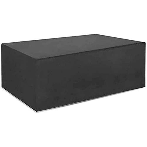 FUSHOU-Funda Muebles Jardin Fundas impermeables para muebles de jardín rectangulares, fundas para mesas de patio al aire libre 420D Oxford resistente, cordón ajustable,Negro,260x140x106cm