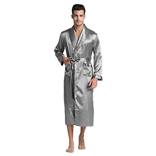 WSJF Robe Morgenmantel Nachthemd Nachtwäsche Nachtwäsche Herren aus Seide und Satin Bademantel, Lange Robe Pyjamas Men Cozy Nightgown Modern Style Nachtwäsche Kimono Morgenmantel Geburtstags-Geschenk