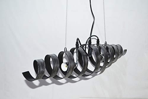 Suspension métal spirale design style industrielle moderne argent patinée noir