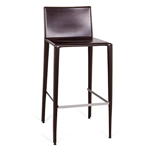 Arper Leather Bar Stool Bistro Armchair Brown Modern Real Leather Swiss Air Lounge Zurich
