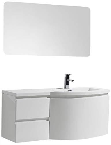 Badmöbel Set LAURANCE 1200 Weiß Hochglanz - geschwungene Form, Spiegel:Ohne Spiegel, Ausführung:Waschbecken RECHTS