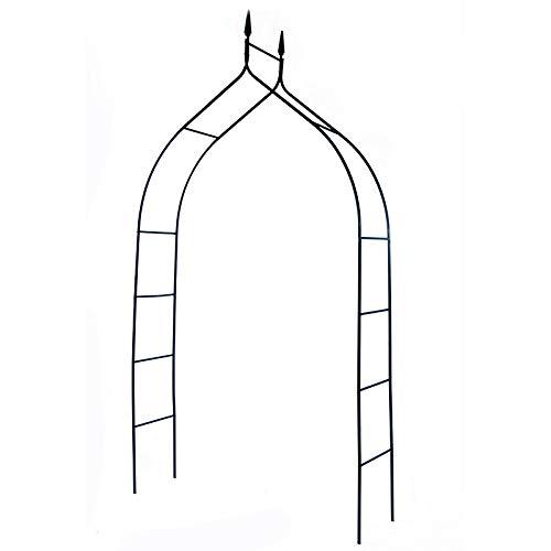Arco de Jardín Pérgola de Hierro, Cenador Tubular para Rosas y Plantas Trepadoras, Decoración de cenador Exterior, Soporte de Enredaderas, Luces y Flores,Negro