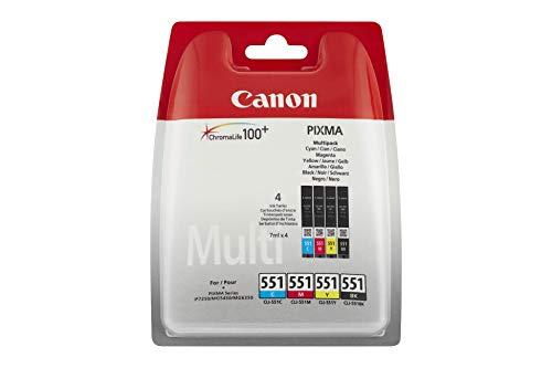 Canon CLI-551 Druckerpatronen Patronen Multipack - Schwarz + CMY je 7ml PIXMA Drucker Original