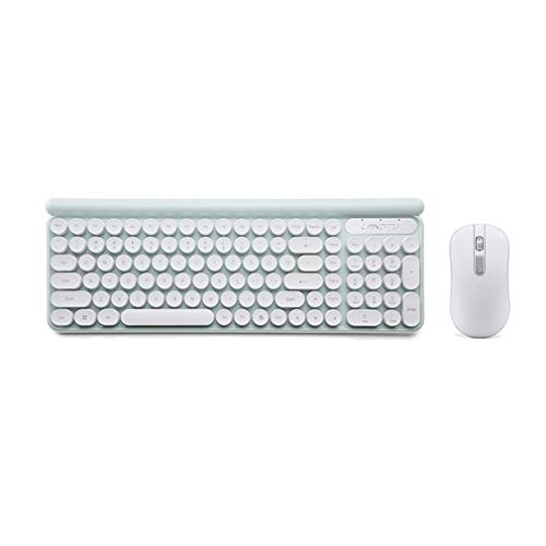 Ackful2.4G Wireless Rechargeable USB Ergonomic Gaming Mute Keyboard Mouse Sets,for Working or Gaming,Office Device (White)