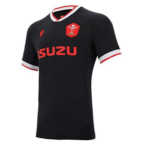 EBDC 2020-2021 Wales Rugby Jersey, Herren Trainingstrikot Poloshirt Kurzarm Tops Herren Casual Sport T-Shirt Fußball Bekleidung, Schwarz , M