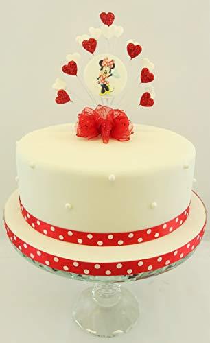 The Cake Emporium Ltd Disney Minnie Mouse - Juego de decoración para Tarta con diseño de corazón y Cinta a Juego