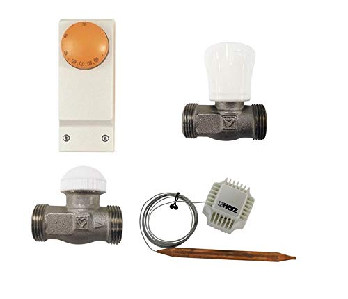 HERZ Regelset für FH Fußbodenheizung bis 45 qm Thermostat mit Anlegethermostat Kapillare Thermostatkopf