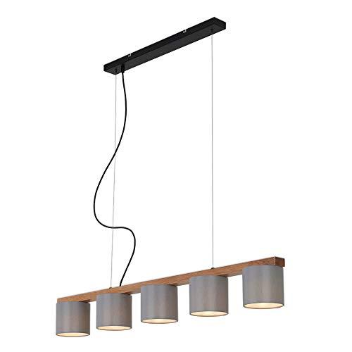 Briloner Leuchten - Pendelleuchte, Pendellampe 5-flammig, retro, vintage, höhenverstellbar, 5x E14, max. 25 Watt, Metall-Holz inkl. graue Stoffschirme, 1100x150x1360mm (LxBxH)