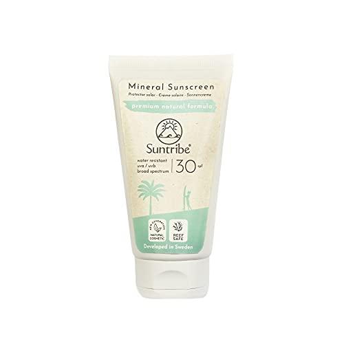 Crema Solar Mineral Cuerpo & Cara Suntribe - FPS 30 - Biodegradable - Òxido de Zinc (Filtro UV Mineral) - Resistente al agua - 8 Ingredientes - Nuevo: less visible (60 ml)