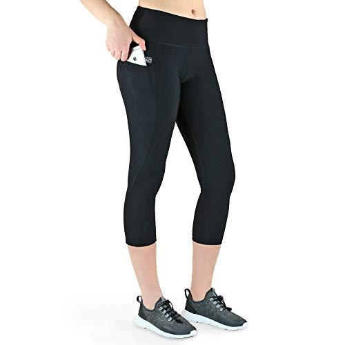 VS Sport-Leggins 3/4 mit 3 Seitentaschen für Handy, Schlüssel, Kreditkarte und Co. Fitness Sport Tights Schwarz Muster Yoga Hose Sporthose Jogging High Waist. Black-XXL