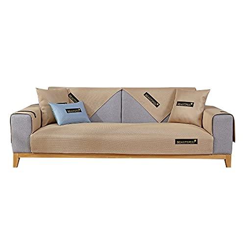 YUTJK El sofá de Seda de Hielo de Verano se Puede Lavar,Dos Plazas Antideslizante Funda para Sofá,Universal Acolchado Funda,Cubre Sofá para Chaise Long Rinconera,Beige_45×45cm(Cubierta de Almohada)